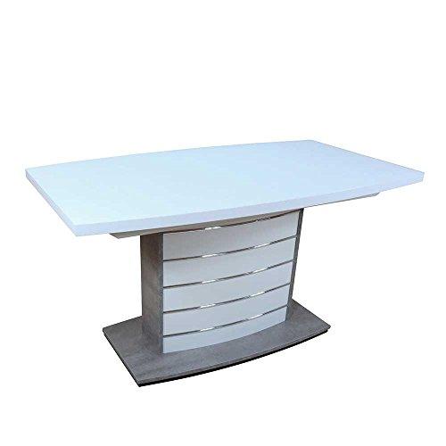 Pharao24 Säulen Esstisch in Bootsform Weiß Silber ausziehbar