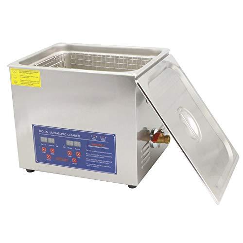 UFLIZOGH Pulitore Ultrasuoni 10L professional in acciaio inox con Riscaldamento Timer Digitale per Laboratorio Gioielli Orologi Rasoi Occhiali (10L)