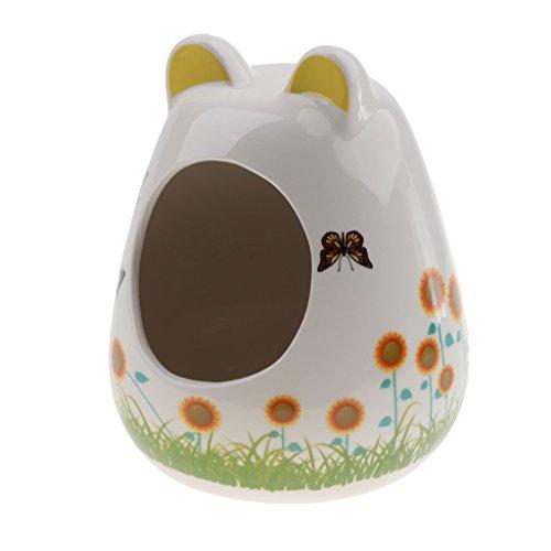 Tubayia Caseta de cerámica para roedores, mascotas, hámster, casa, cabaña, jaula para animales pequeños, ratas, etc.