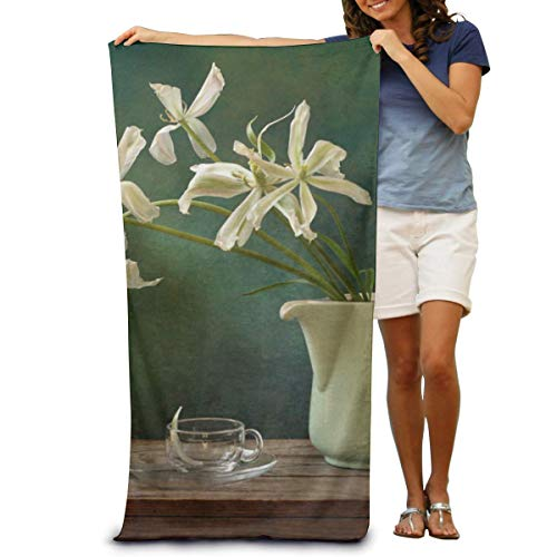 DOKEVFOB Lily Inserted In The Bottle Microfiber Beach Towel -Ultra Soft Super Water Absorbent Multi-Purpose Beach Throw Towel Oversized 32' X 51'