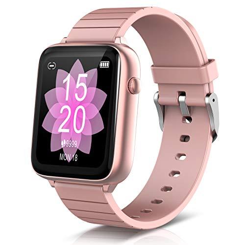 ELEGIANTSmartWatch1.54'',Fitness Armbanduhr mit Pulsuhr Fitness Tracker IP68, Aktivitätsmonitor,Sportuhr, Schrittzähler,Stoppuhr, Smart WatchfürDamen für iOSAndroid, 7 Zifferblätter, Pink