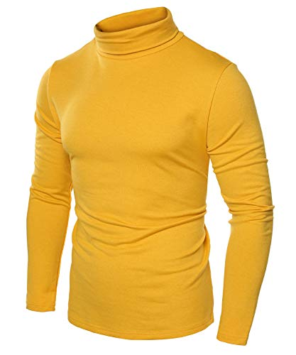JINIDU Men's Slim Fit Turtleneck T Shirts Casual Cotton Thermal Pullover Sweaters Yellow