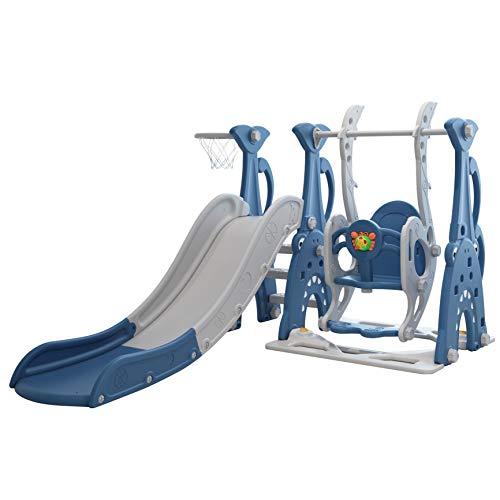 Clarmaro 'Crazy Zoo' 3in1 Kinder Spielplatz mit 165 cm Rutsche, Schaukel und Basketballkorb | Indoor und Outdoor | Spielturm und Rutsche mit extra Breiten Stufen und Standbeinen | Farbe: Blau