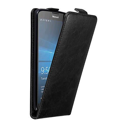Cadorabo Hülle für Nokia Lumia 950 XL in Nacht SCHWARZ - Handyhülle im Flip Design mit unsichtbarem Magnetverschluss - Hülle Cover Schutzhülle Etui Tasche Book Klapp Style