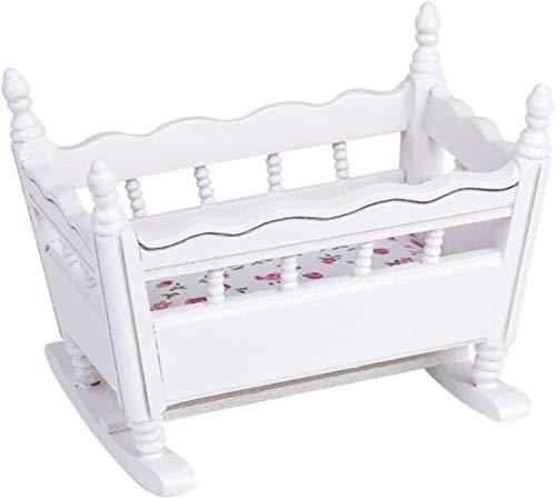 SLL- 12.01 Puppenhaus Miniatur aus Holz Kinderzimmer Wiege Babybett - Weiß