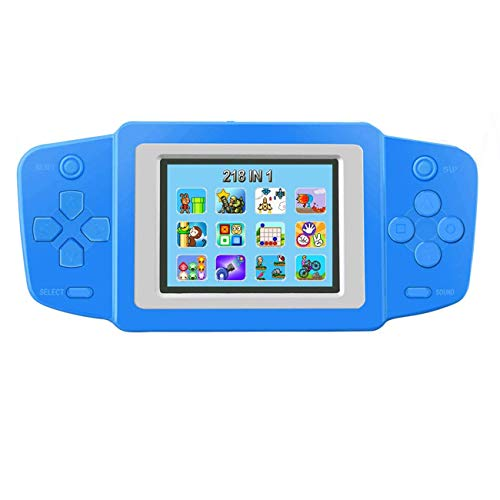 """Joseky Handheld Game Console, Built in 218 Classic Retro Video Games Rechargeable Portable Arcade Gaming Player Birthday for Chidren 2.5"""" Color Display (Blue) (Blue)"""