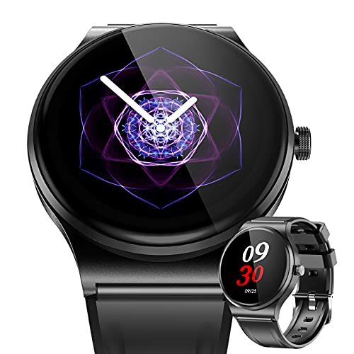 BNMY Relojes Inteligente Hombre, Smartwatch con Llamadas Pulsómetro Presión Arterial, Monito De Sueño,Podómetro Pulsera Reloj Impermeable para Android iOS,Negro