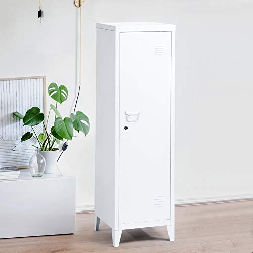 Symylife Locker for Bedroom Metal Locker Steel Storage Cabinet Locker Organizer Console Stand 3-in-1 Wardrobe,White