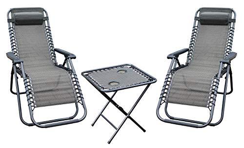 LINDER EXCLUSIV Lex 3-TLG. Relax-Set Campingmöbel-Set: 1 Faltbarer Mesa + 2 sillas Plegables - cómoda Gartenmöbel by