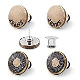 Kaqulec Jean Button Pins Replacement for Pants, No Sew and No Tools Pant Button Tightener, Reusable and Adjustable Metal Button Replacer, Instant Button Clips to Adjust Pants Waist in Seconds, 4pcs