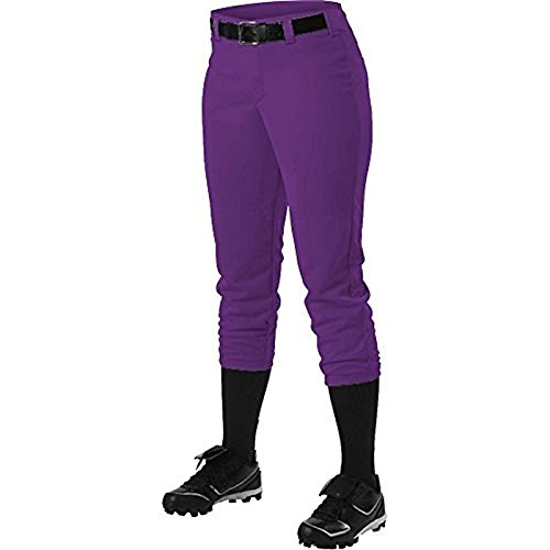 Alleson Ahtletic Women's Fast Pitch Softball Belt Loop Pants, Purple, Large