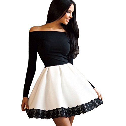 ROPALIA Womens Bodycon Long Sleeve Party Dress Floral Off Shoulder Mini Dress