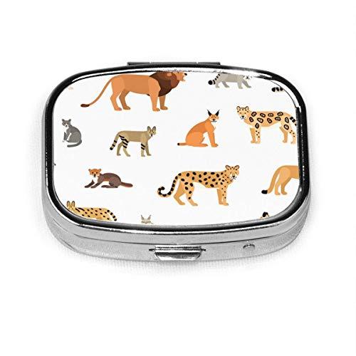 Patrón de gato salvaje Animal salvaje en blanco Animal personalizado moda caja de pastillas cuadrada soporte de tableta monedero de bolsillo organizador caso decoración