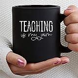 Taza de café con texto en inglés 'Teaching is My Jam', regalo de cerámica para hombres y mujeres