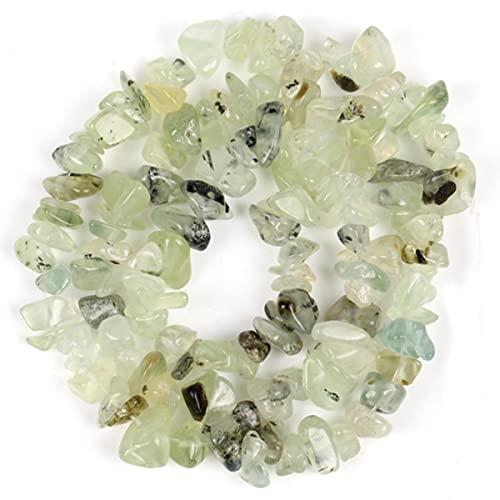 Cuentas irregulares de grava de chip de forma libre, amatistas de piedra natural, cuentas de ojo de tigre para hacer joyas, 3-5-8-12 mm, collar de bricolaje, 16 pulgadas, prehnita, 5-8 mm, 16 pulgadas