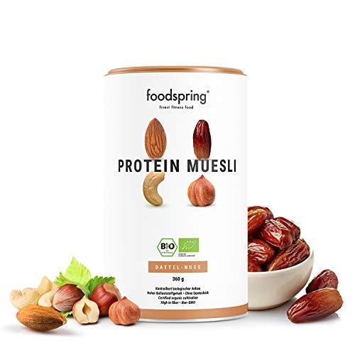 foodspring Muesli Proteico, 360g, Dátiles-Frutos secos, Ingredientes 100% orgánicos, Garantizado vegano y sin lactosa