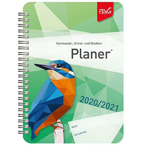 FLVG Gymnasialplaner, Schulplaner und Studienplaner 2020/2021 mit grünem Vogel-Cover