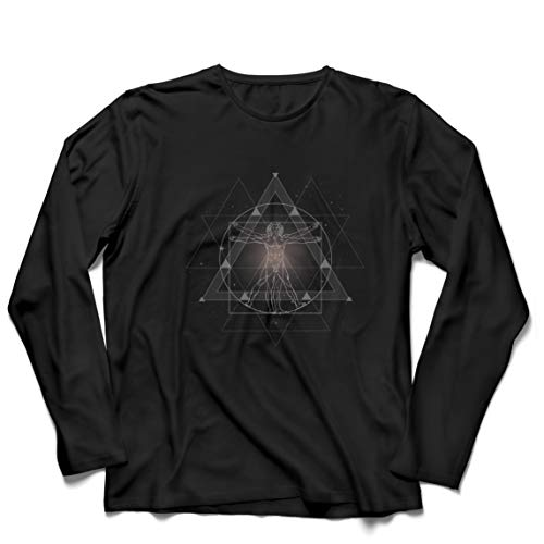 lepni.me Camiseta de Manga Larga para Hombre Divino Hombre de Vitruvio Leonardo Da Vinci Geometría Sagrada