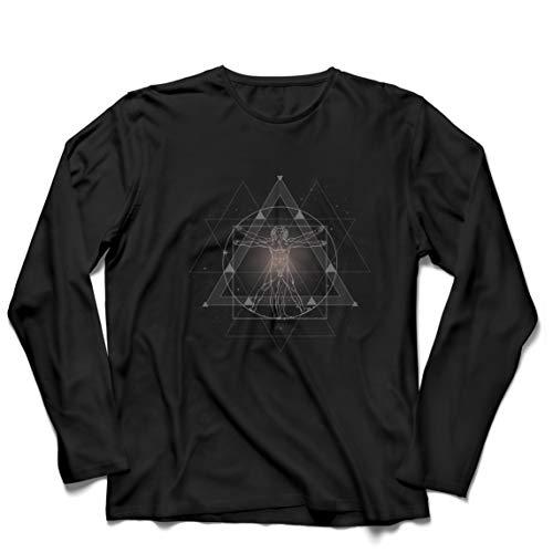 lepni.me Camiseta de Manga Larga para Hombre Divino Hombre de Vitruvio Leonardo Da Vinci Geometra Sagrada (XL Negro Multicolor)