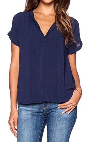 LILBETTER Women Chiffon Blouse V Neck Short Sleeve Top Shirts (Navy Blue,Large)