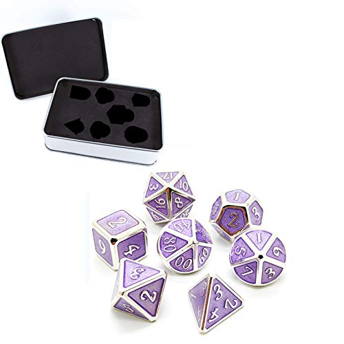Supefriendly 7 Stück Metall Würfelt Set,Spiel Polyhedral Festes Metall Würfel-Set Mit Freiem Metallgehäuse