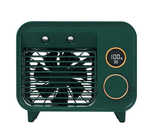 HJUIK Enfriador de Aire Personal Aire Acondicionado Portátil Ventilador de Escritorio Mini Humidificador de Niebla para Dormitorio Oficina En Casa (Color : Green)