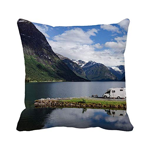Throw Pillow Cover Throw Pillowcase Family Vacation Travel Rv Holiday Trip in Motorhome Caravan Decorative Cushion Cover Case 45X45CM