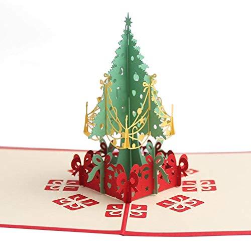 Tarjeta de felicitación 3D con diseño de árbol de Navidad para regalos de Navidad, origami, invitaciones para vacaciones, cumpleaños, aniversario, fiesta
