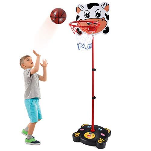 PELLOR Canestro Basket, 170 CM Canestro Bambini Altezza Regolabile Posteriore con Cerchio e Decorazione del Fumetto per Bambini