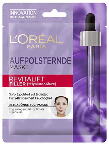 L'Oréal Paris Revitalift Filler Tuchmaske, Aufpolsternde Maske für das Gesicht mit konzentrierter Hyaluronsäure, strafft die Haut, Anti-Aging Gesichtsmaske, 30 g