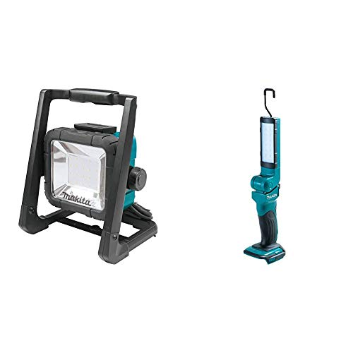 Makita DML805 14.4/18 V Corded and Cordless LED Work Light - Blue/Black & DML801 LXT 18 V 14.4v Li-ion Florescent 12 LED Light Torch
