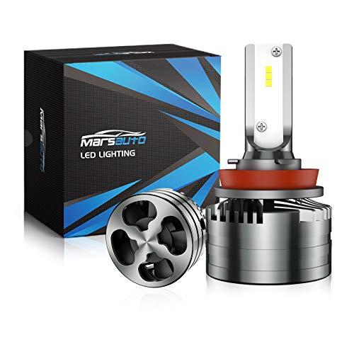 Marsauto H11/H8/H9 Led Headlight Bulbs, 16000LM 6500K Xenon White, 400% Brighter, Mini Size, M2 Series Low Beam/Fog Light Bulb Conversion Kit with Fan