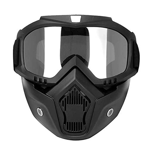 KKmoon Occhiali da Moto, Copertura per Viso del Motociclo, Occhiali ad Alta Definizione con Filtro a Bocca per Casco a Faccia Aperta, Protezione Viso per Occhi Motocross, Trasparente