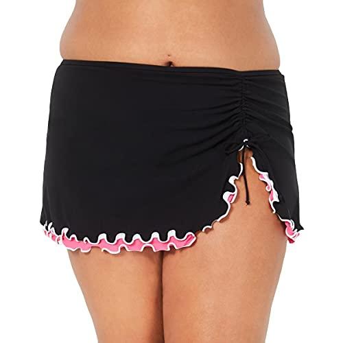 Profile by Gottex Women's Plus-Size Lettuce Ruffle Side Tie Skirted Swimsuit Bottom, Tutti Frutti Black/Pink, 18W