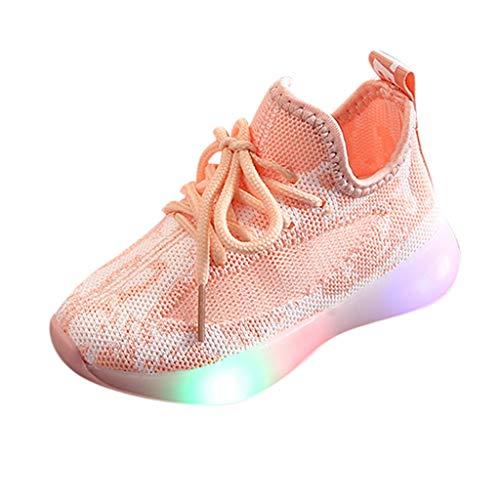 AIni Baby Schuhe 2019 Neuer Beiläufiges Mode Kinder Baby Mädchen Jungen Mesh Led Licht Laufen Sport Sneaker Schuhe Lauflernschuhe Krabbelschuhe Kleinkinder Schuhe (23,Rosa)