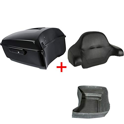 XFMT 13.7' King Tour Pack Luggage Trunk W/Wrap Around Backrest Pad For Harley Touring Road King, Road Glide, Street Glide, Electra Glide, Ultra-Classic 2014-2020
