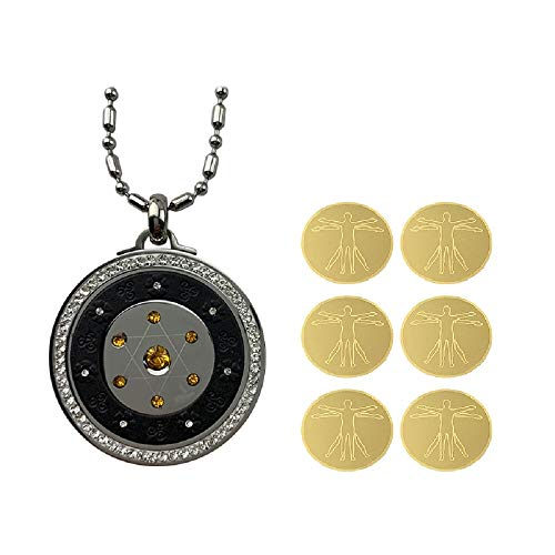 1 Spiritual Oigonite Emf Protection Pendant Necklace And 6 Anti Radiation Sticker For Cell Phone, Stress, Anxiety, Meditation, Spiritual Gift(pendant Size:d:38mm T:5.5mm)