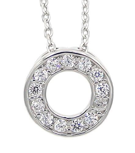 Collier Kreis 925 Sterling Silber rhodiniert 13 Zirkonia 45cm Silberkette Halskette Kette Damen