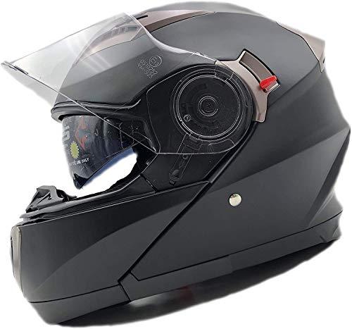 NBZH Casco De Moto Modular Moto Bluetooth Casco Est/éreo Calidad De Sonido Destapado con Cuernos Y Lentes Antiniebla Modular Abatible Bluetooth Touring Cascos