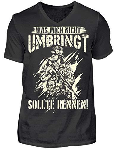 was Mich Nicht umbringt sollte rennen! - Geschenk-Idee für Soldaten der Bundeswehr - Herren V-Neck Shirt -M-Schwarz