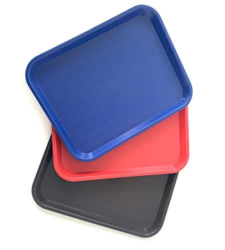 Extiff Juego de 3 bandejas de Servicio rectangulares de plástico - 1 Rojo 1 Azul 1 castaño