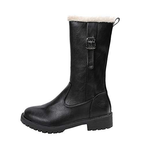 Stiefel Damen Trichterabsatz Halbschaft Plüsch Futter Reißverschluss Schuhe mit Gürtelschnalle Runder Zeh Einfarbiges Winter Warme Damenschuhe (37 EU, Schwarz)