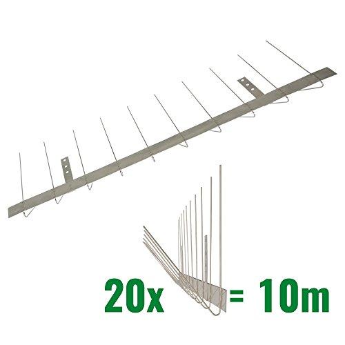 Pestsystems 10 Meter Taubenspikes Dachrinne 2-reihig V2A-Standard - hochwertige Lösung für Vogelabwehr Taubenabwehr Edelstahl Spikes