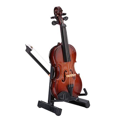 Garosa Mini-Violine aus Holz mit Bogenständer und schwarzem Koffer für Puppenhaus-Zubehör