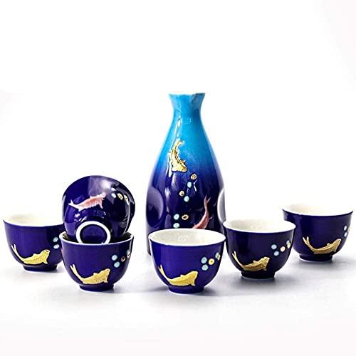 Juego de sake japonés, vajilla Juego de sake de 7 piezas, estilo chino, creativo y refinado, tradicional, artesanías de porcelana retro / jarra de vino / jarra de vino, relieve de metal, doble pescado