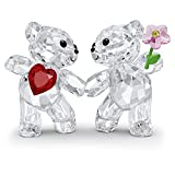 SWAROVSKI Kris Bears Happy Together Figurine Set, Clear Swarovski Crystal with a Red Heart and Pink Flower Accent, Part of the Swarovski Kris Bears Collection