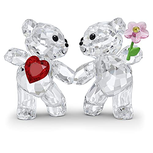 SWAROVSKI Kris Bears Happy Together Figurine Set, Clear Swarovski Crystal with a Red Heart and Pink...