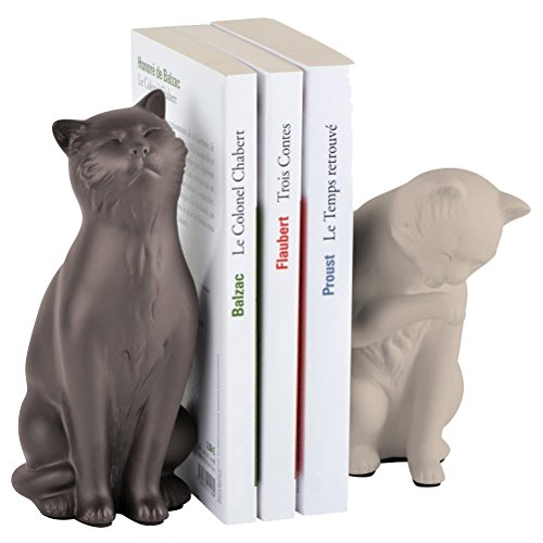 Serre livres chats beige taupe