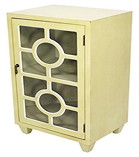 Heather Ann Creations freistehend Single Schublade Used Schrank mit Kreis Kreuz Glas Fenster fügt, Holz, beige, 30