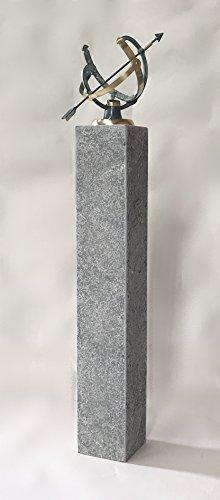 pompidu-living Sonnenuhr Bronze auf Steinsäule H 118 cm